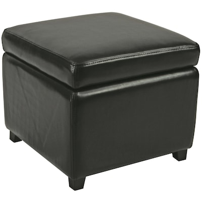 Awesome Safavieh Jonathan Casual Black Faux Leather Storage Ottoman Bralicious Painted Fabric Chair Ideas Braliciousco