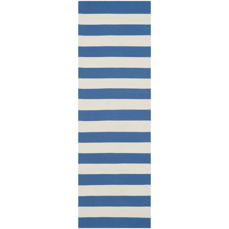 Safavieh Montauk Maslin Blue/Ivory Rectangular Indoor Handcrafted Coastal Runner (Common: 2 x 7; Actual: 2.3-ft W x 7-ft L)
