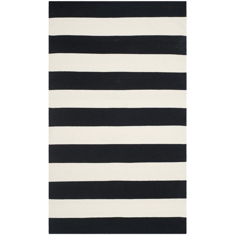 Safavieh Montauk Maslin Black/Ivory Rectangular Indoor Handcrafted Coastal Area Rug (Common: 5 x 8; Actual: 5-ft W x 8-ft L)