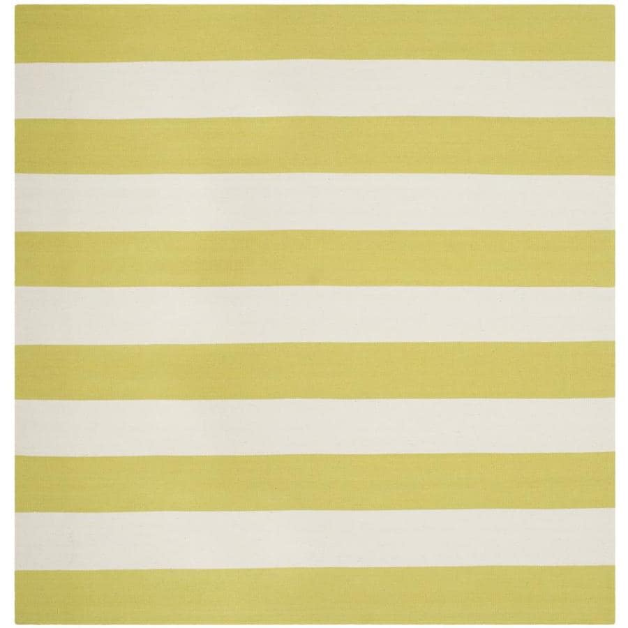 Safavieh Montauk Maslin Green/Ivory Square Indoor Handcrafted Coastal Area Rug (Common: 6 x 6; Actual: 6-ft W x 6-ft L)
