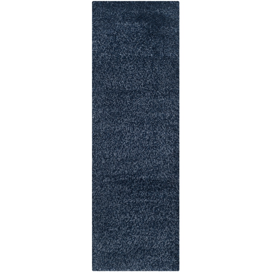 Safavieh California Shag Navy Indoor Runner (Common: 2 x 9; Actual: 2.25-ft W x 9-ft L)