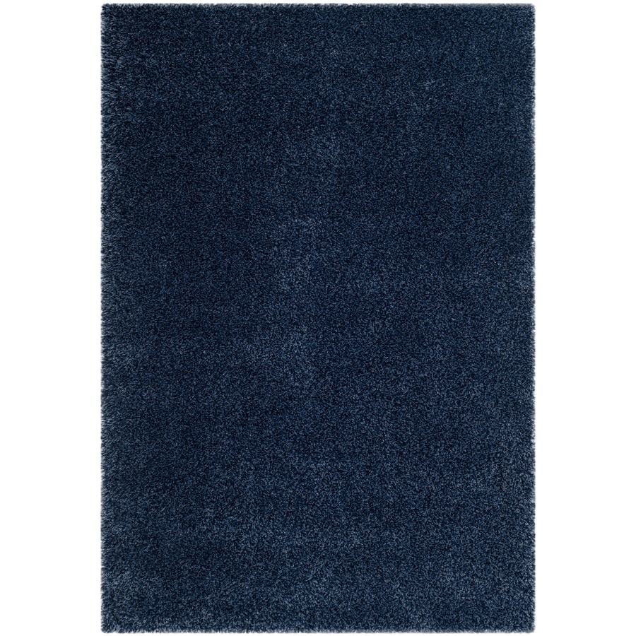 Safavieh California Shag Navy Rectangular Indoor Machine-Made Area Rug (Common: 5 x 7; Actual: 5.25-ft W x 7.5-ft L)