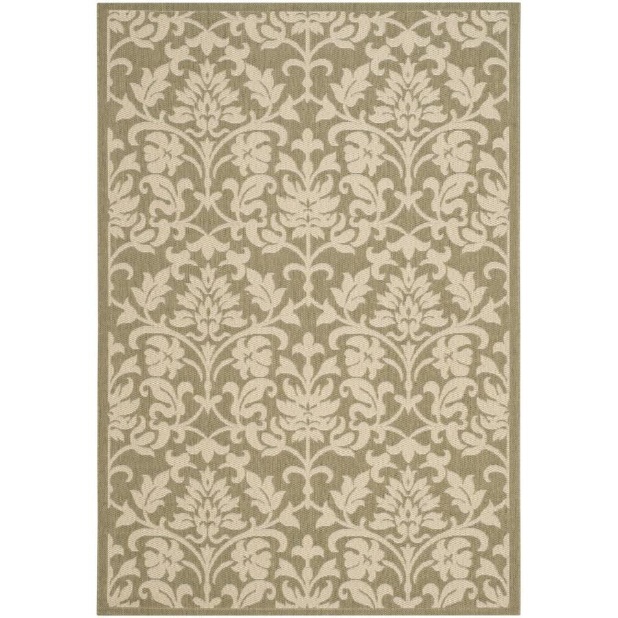 Safavieh Courtyard Exuma Olive/Natural Rectangular Indoor/Outdoor Machine-Made Coastal Area Rug (Common: 4 x 5; Actual: 4-ft W x 5.58-ft L)