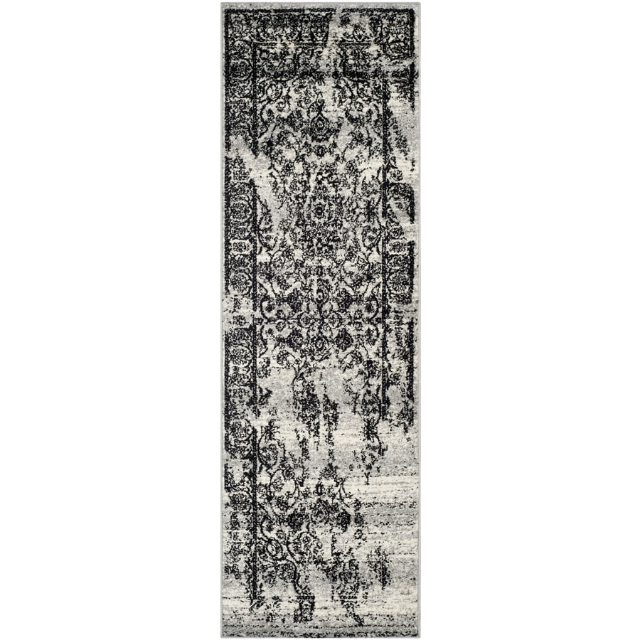 Safavieh Retro Light Grey and Black Square Indoor Machine-Made Area Rug