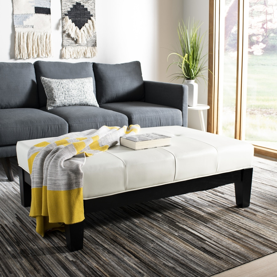 Safavieh Cocktail Casual Off-White Faux Leather Ottoman
