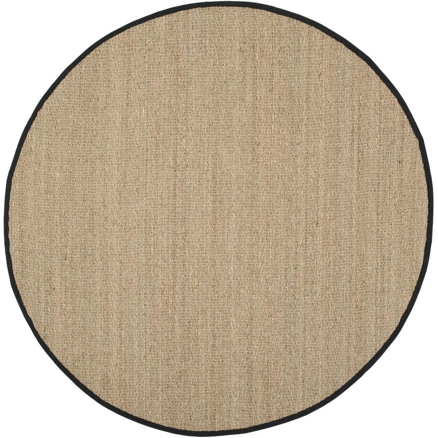Safavieh Natural Fiber Montauk Natural/Black Round Indoor Machine-Made Coastal Area Rug (Common: 6 x 6; Actual: 6-ft W x 6-ft L x 6-ft dia)