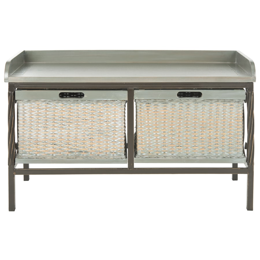 Shop safavieh noah transitional antique pewter french gray accent bench at Gray storage bench
