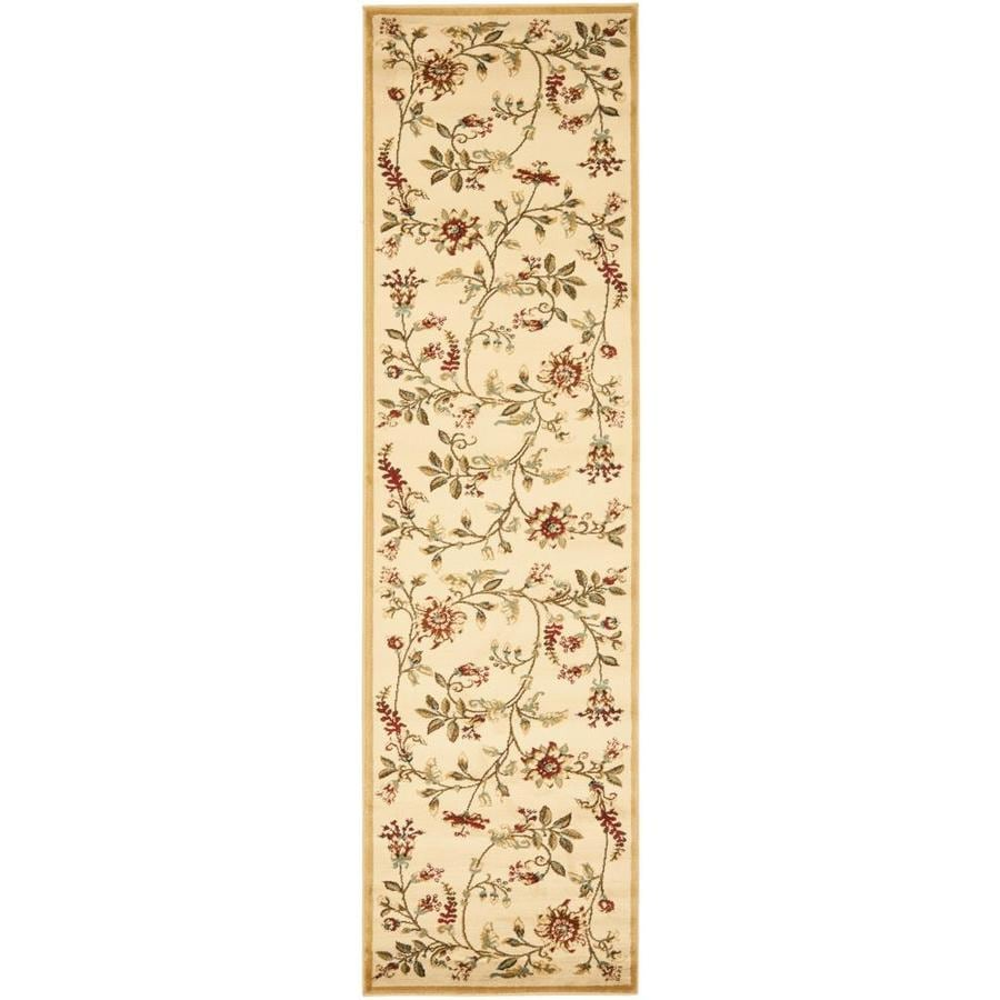 Safavieh Lyndhurst Floral Swirl Ivory/Multi Rectangular Indoor Machine-made Nature Runner (Common: 2 x 12; Actual: 2.25-ft W x 12-ft L)