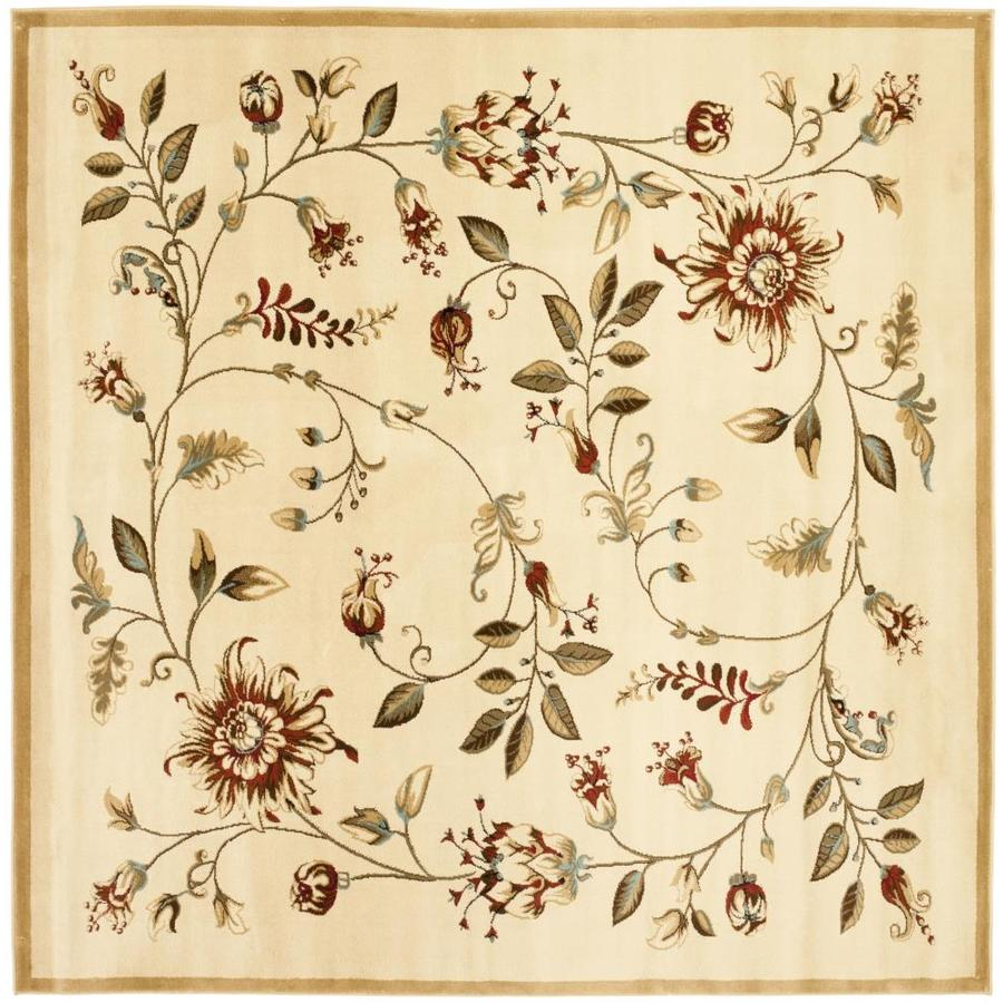 Safavieh Lyndhurst Floral Swirl Ivory/Multi Square Indoor Machine-made Nature Area Rug (Common: 6 x 6; Actual: 6.583-ft W x 6.583-ft L)