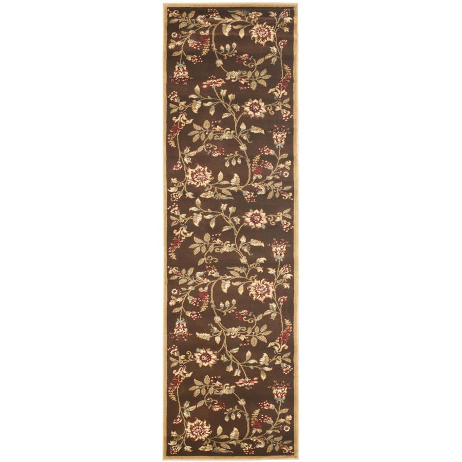 Safavieh Lyndhurst Floral Swirl Brown Indoor Nature Runner (Common: 2 x 16; Actual: 2.25-ft W x 16-ft L)