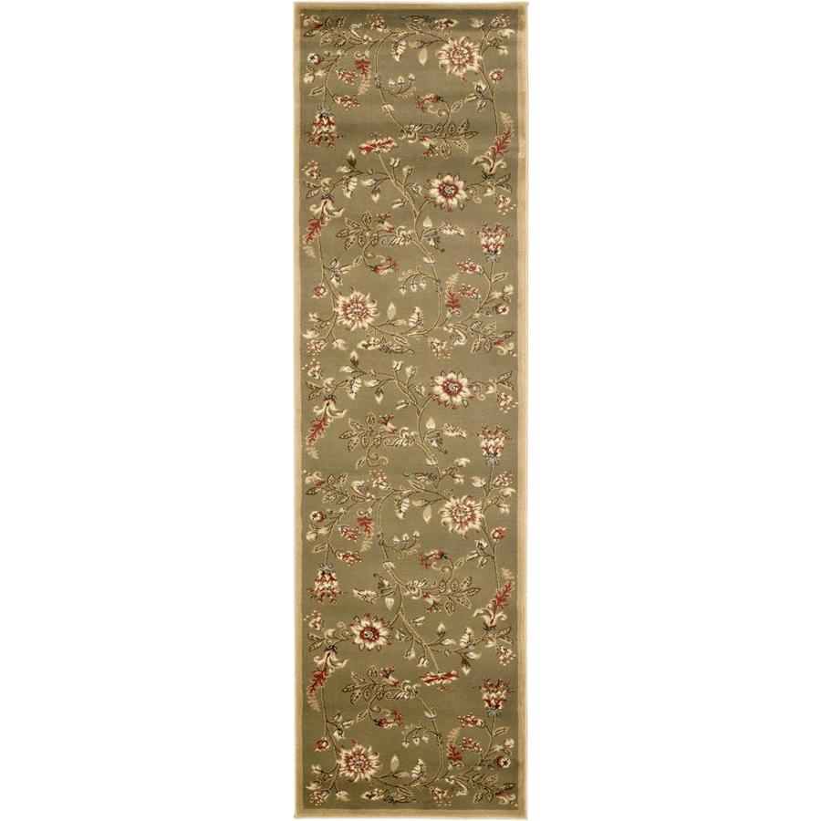 Safavieh Lyndhurst Floral Swirl Green Indoor Nature Runner (Common: 2 x 16; Actual: 2.25-ft W x 16-ft L)