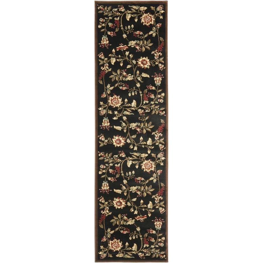Safavieh Lyndhurst Floral Swirl Black/Multi Rectangular Indoor Machine-made Nature Runner (Common: 2 x 16; Actual: 2.25-ft W x 16-ft L)