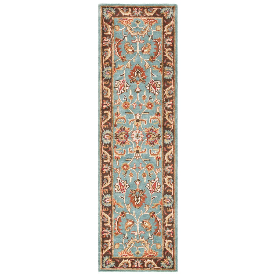 Safavieh Heritage Ganges Blue/Brown Indoor Handcrafted Oriental Runner (Common: 2 x 22; Actual: 2.25-ft W x 22-ft L)