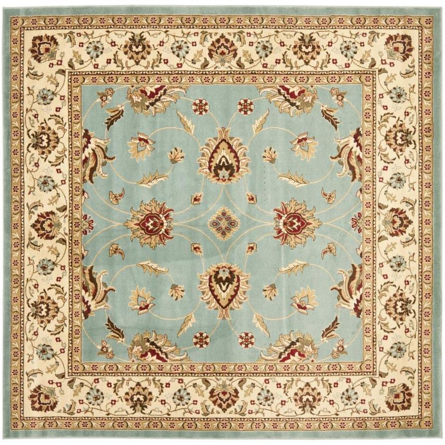 Safavieh Lyndhurst Agra Blue/Ivory Square Indoor Oriental Area Rug (Common: 7 x 7; Actual: 6.7-ft W x 6.6-ft L)