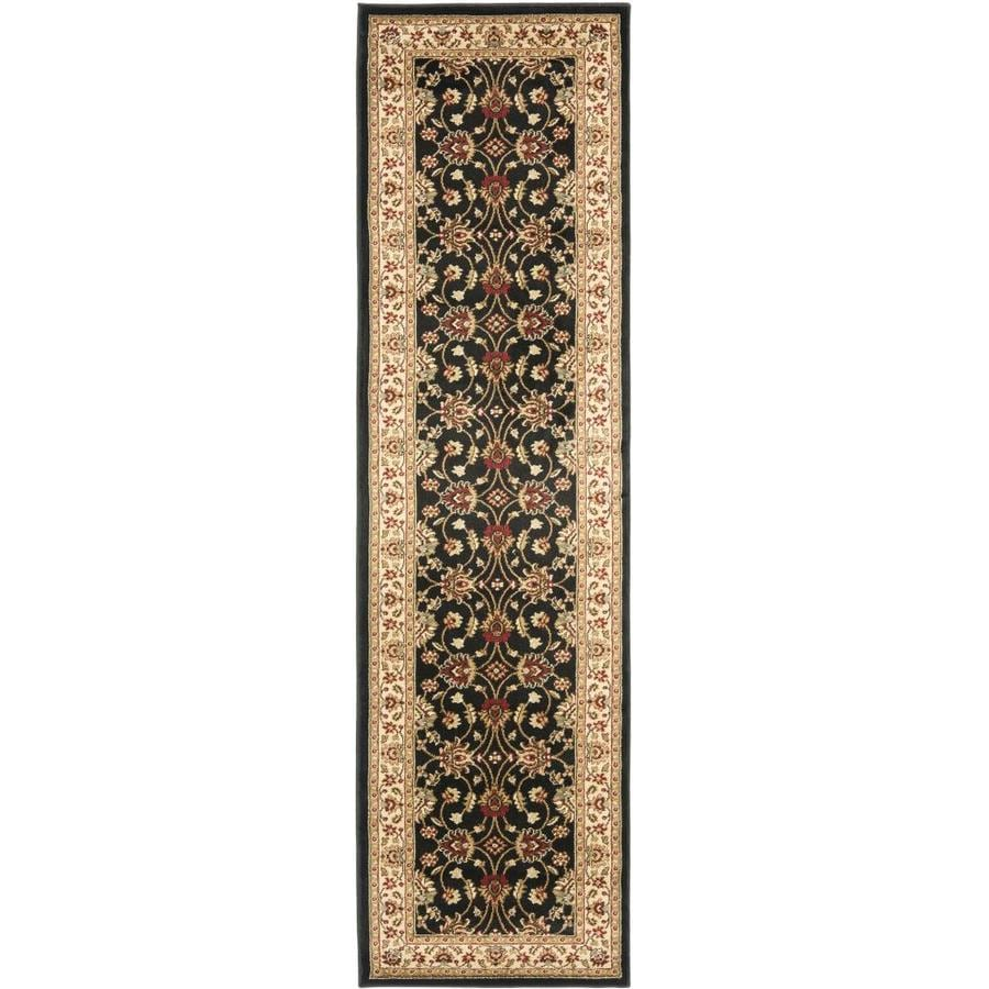 Safavieh Lyndhurst Agra Black/Ivory Rectangular Indoor Machine-made Oriental Runner (Common: 2 x 12; Actual: 2.25-ft W x 12-ft L)