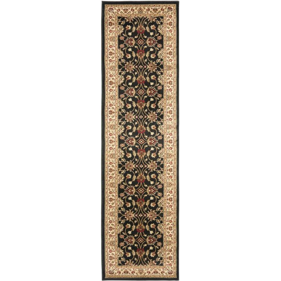 Safavieh Lyndhurst Agra Black/Ivory Rectangular Indoor Machine-made Oriental Runner (Common: 2 x 16; Actual: 2.25-ft W x 16-ft L)