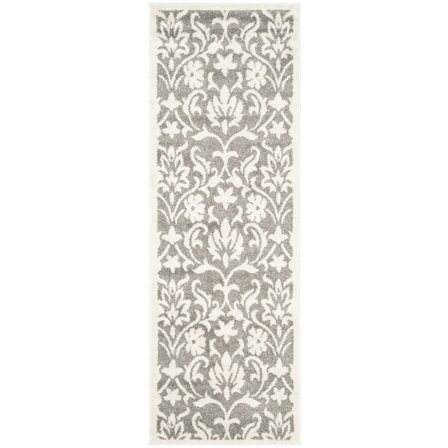 Safavieh Amherst Bouquet Dark Gray/Beige Rectangular Indoor/Outdoor Machine-Made Moroccan Runner (Common: 2 x 11; Actual: 2.25-ft W x 11-ft L)