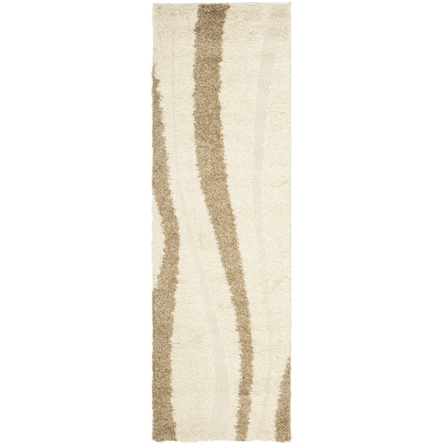 Safavieh Willow Shag Cream/Dark Brown Rectangular Indoor Machine-made Tropical Runner (Common: 2 x 11; Actual: 2.25-ft W x 11-ft L)