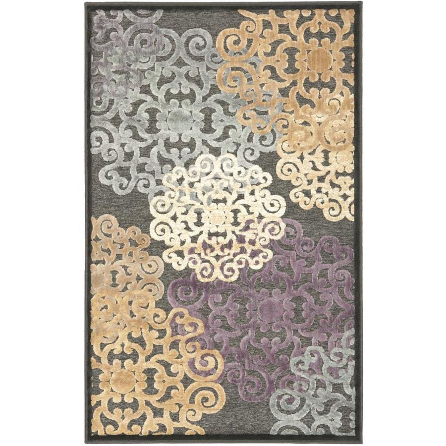Safavieh Paradise Charis Charcoal/Multi Rectangular Indoor Machine-made Oriental Throw Rug (Common: 3 x 5; Actual: 3.25-ft W x 5.583-ft L)