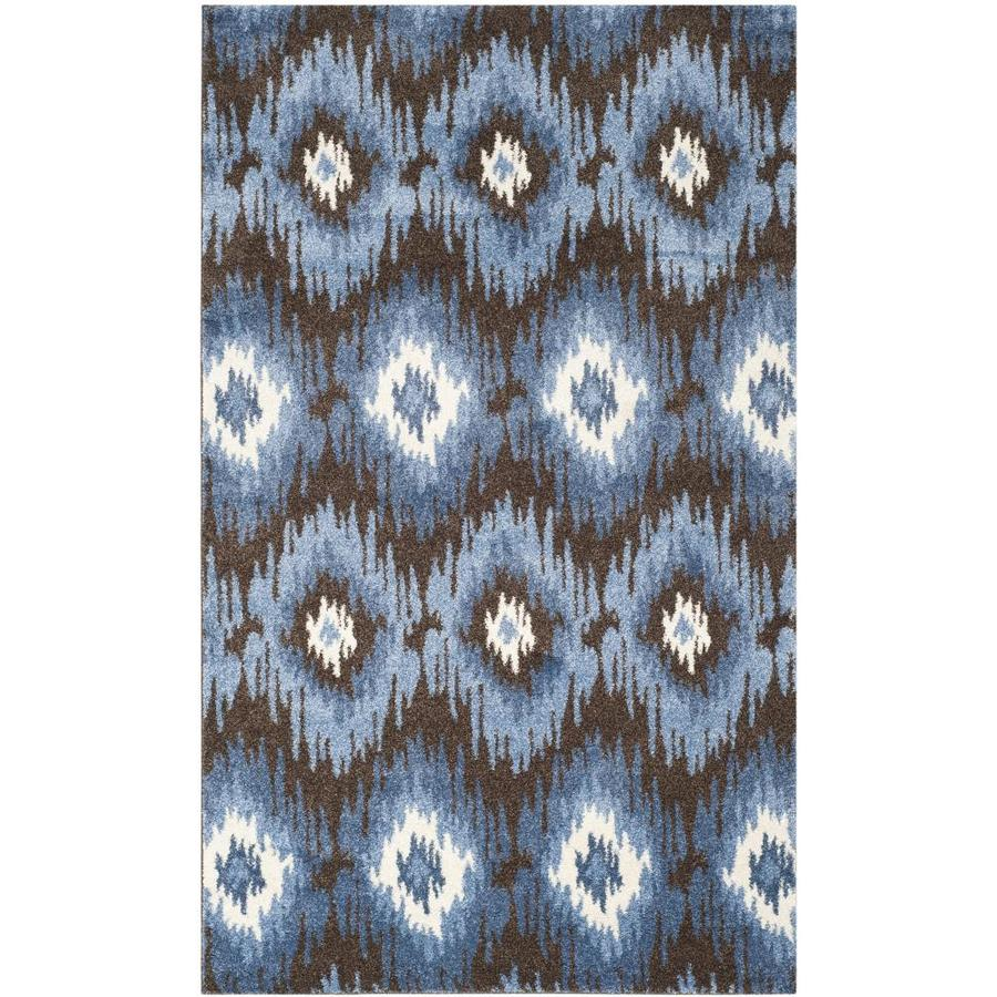 Safavieh Retro Bilson Dark Brown/Blue Indoor Lodge Area Rug (Common: 5 x 8; Actual: 5-ft W x 8-ft L)