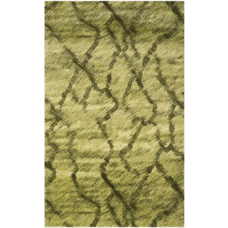 Safavieh Retro Mopani Green/Dark Green Indoor Distressed Area Rug (Common: 4 x 6; Actual: 4-ft W x 6-ft L)