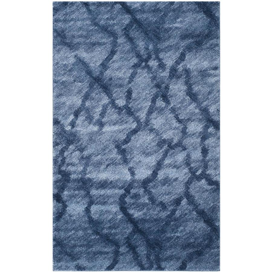 Safavieh Retro Mopani Blue/Dark Blue Rectangular Indoor Machine-made Distressed Area Rug (Common: 4 x 6; Actual: 4-ft W x 6-ft L)