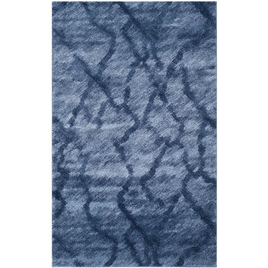 Safavieh Retro Mopani Blue/Dark Blue Indoor Distressed Area Rug (Common: 5 x 8; Actual: 5-ft W x 8-ft L)