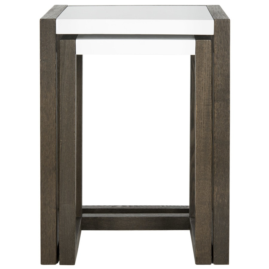Safavieh Egan White/Dark Brown End Table