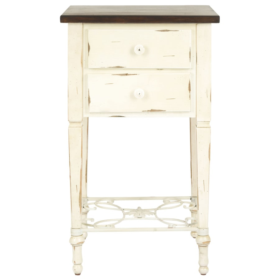 Safavieh Monica Distressed Whitewash/Java Birch End Table