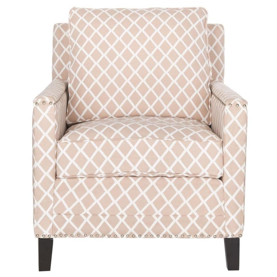Safavieh Buckler Casual Peach Pink/White Linen Accent Chair