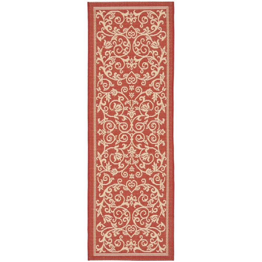 Safavieh Courtyard Red/Natural Rectangular Indoor/Outdoor Machine-Made Coastal Runner (Common: 2 x 6; Actual: 2.25-ft W x 6.58333333333333-ft L x 0-ft Dia)