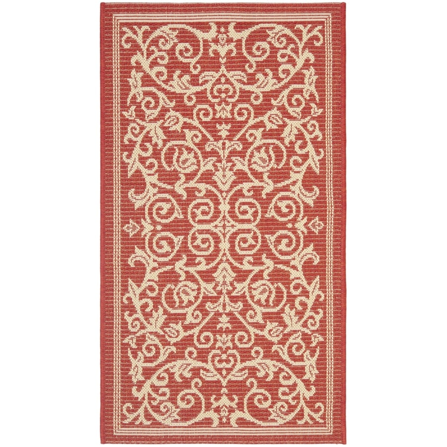 Safavieh Courtyard Red/Natural Rectangular Indoor/Outdoor Machine-Made Coastal Throw Rug (Common: 3 x 5; Actual: 2.58-ft W x 5-ft L x 0-ft Dia)