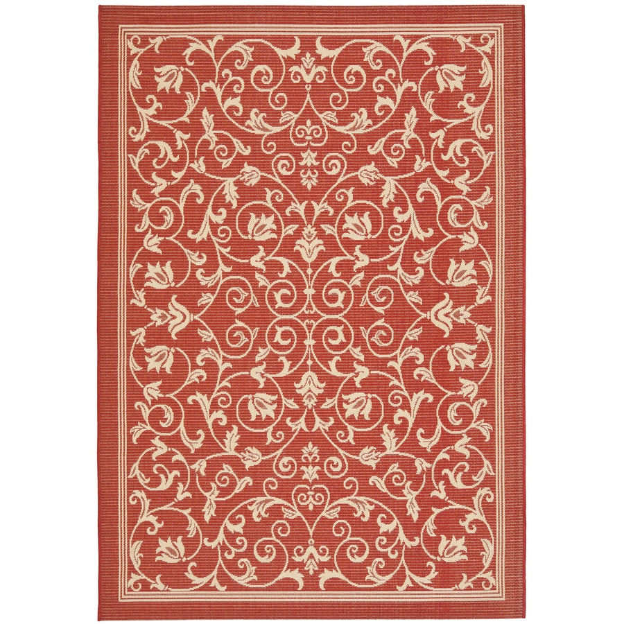 Safavieh Courtyard Red/Natural Rectangular Indoor/Outdoor Machine-Made Coastal Area Rug (Common: 8 x 11; Actual: 8-ft W x 11.1666666666667-ft L x 0-ft Dia)