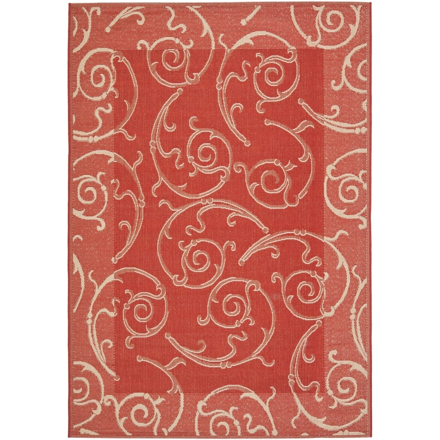 Safavieh Courtyard Red/Natural Rectangular Indoor/Outdoor Machine-Made Coastal Area Rug (Common: 4 x 6; Actual: 4-ft W x 5.58333333333333-ft L x 0-ft Dia)