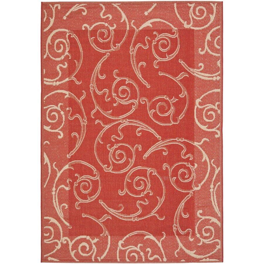 Safavieh Courtyard Red and Natural Rectangular Indoor and Outdoor Machine-Made Area Rug (Common: 8 x 11; Actual: 96-in W x 134-in L x 0.58-ft Dia)