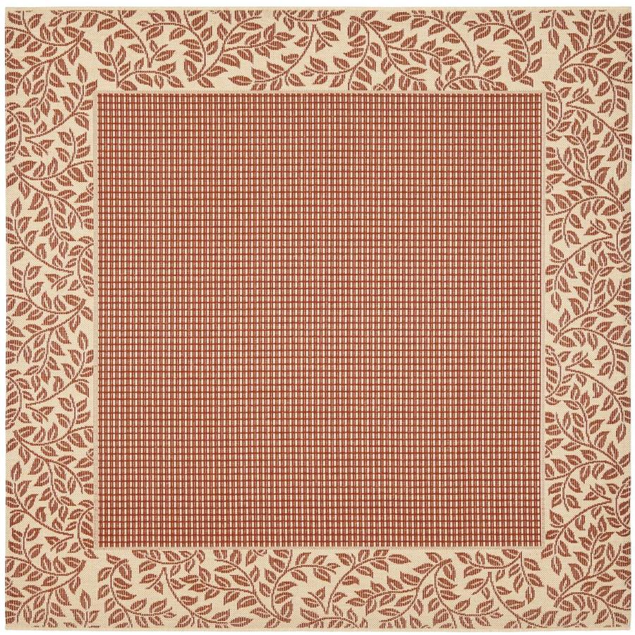 35a8a32064b Safavieh Courtyard Checks Red Natural Square Indoor Outdoor Area Rug  (Common  8 x 8  Actual  7.8-ft W x 7.8-ft L)