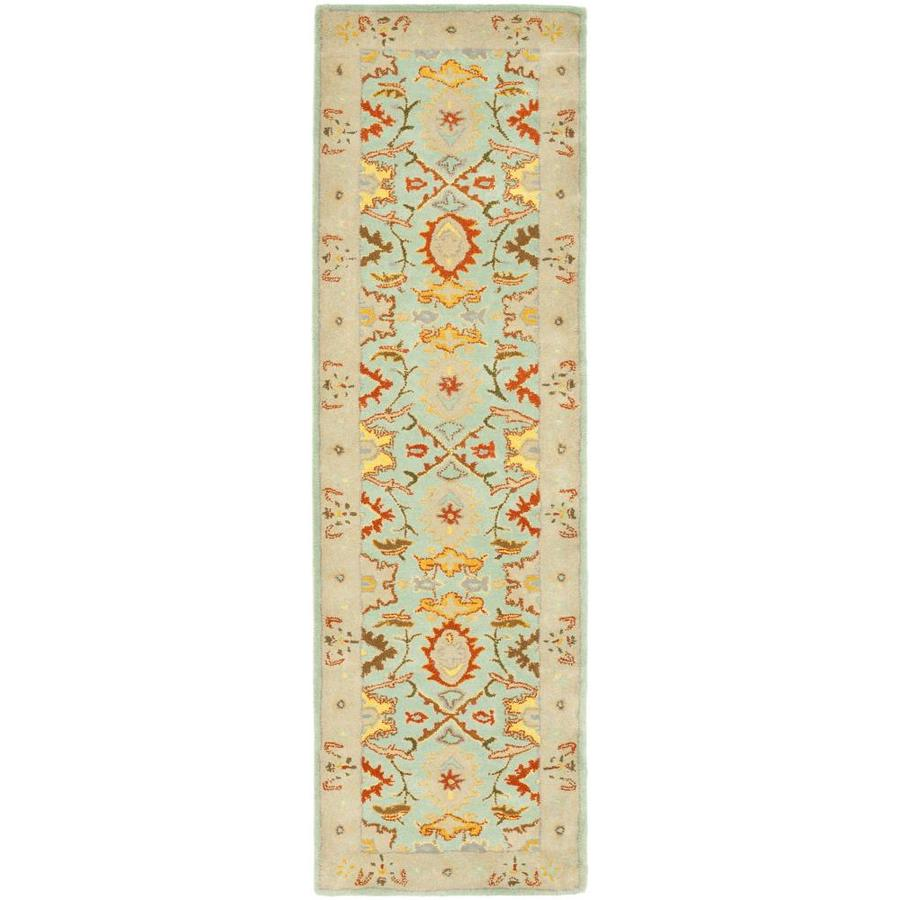 Safavieh Heritage Peshwar Light Blue/Ivory Indoor Handcrafted Oriental Runner (Common: 2 x 12; Actual: 2.25-ft W x 12-ft L)