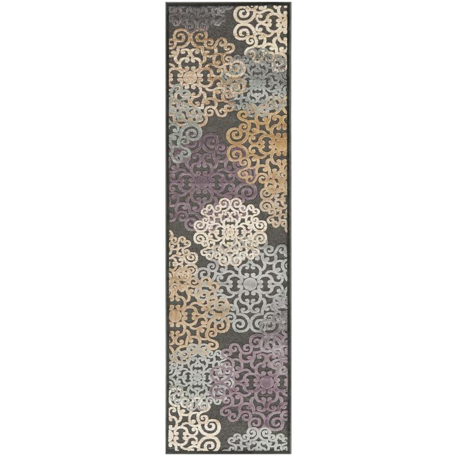 Safavieh Paradise Charis Charcoal/Multi Rectangular Indoor Machine-made Oriental Runner (Common: 2 x 8; Actual: 2.167-ft W x 8-ft L)
