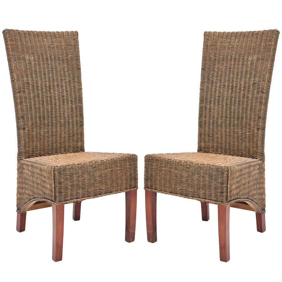 Safavieh Set Of 2 Siesta Coastal Honey Black Wash Faux Leather Accent Chairs