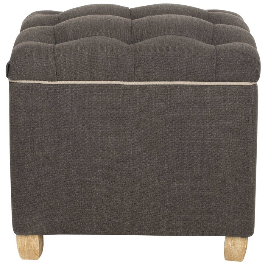 Safavieh Mercer Charcoal Brown Square Storage Ottoman