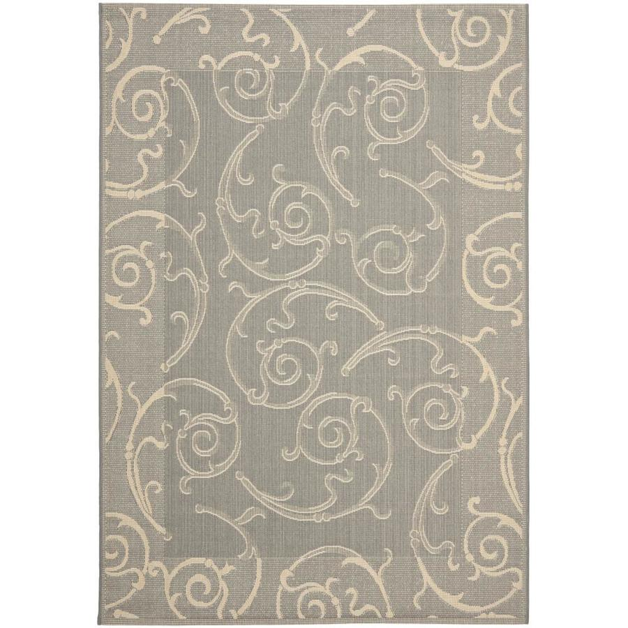 Safavieh Courtyard Sc-Roll Gray/Natural Rectangular Indoor/Outdoor Machine-Made Coastal Area Rug (Common: 5 x 7; Actual: 5.25-ft W x 7.58-ft L)