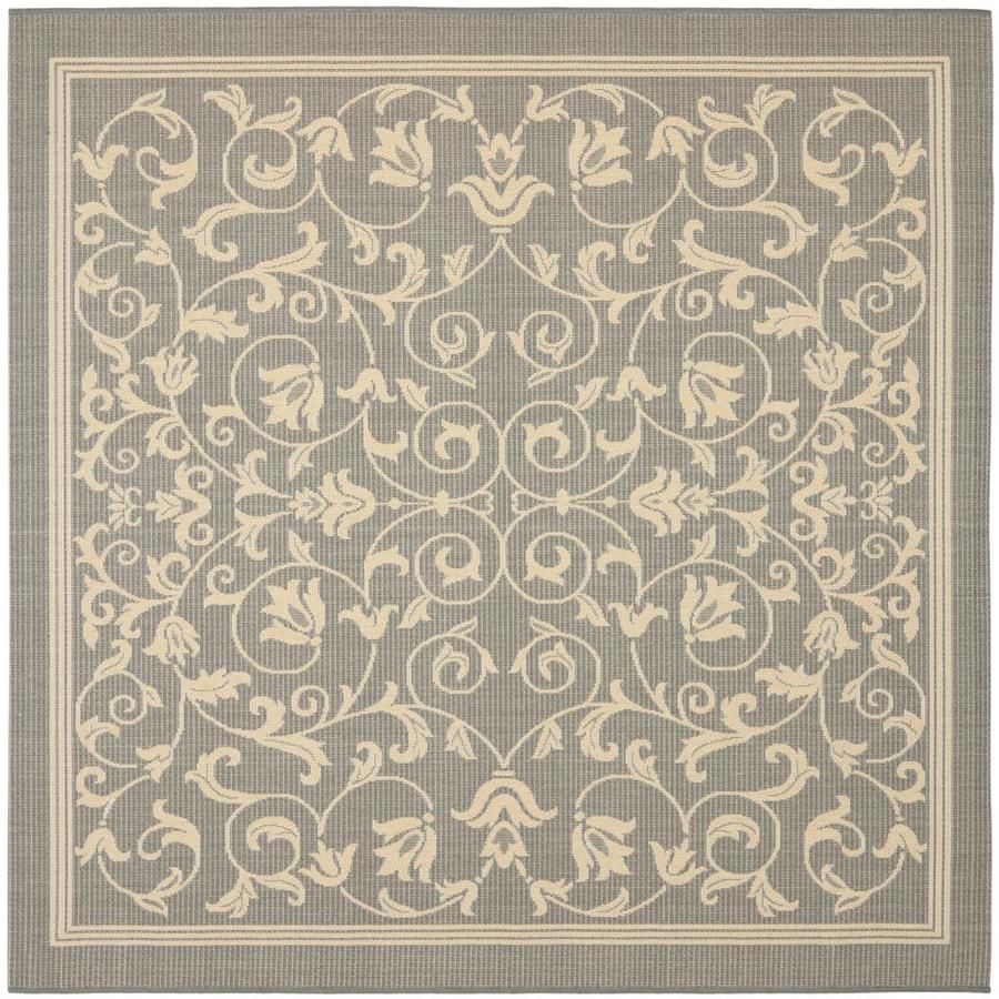 Indoor Outdoor Rugs Square: Safavieh Courtyard Heirloom Gate Gray/Natural Square