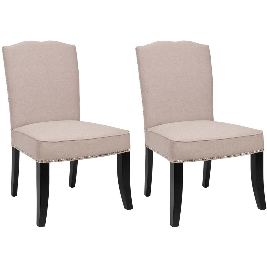Safavieh Set of 2 Terrie Casual Taupe Linen Accent Chairs
