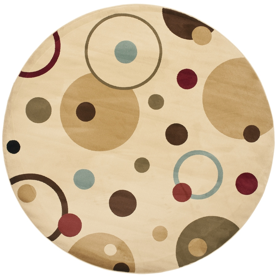 Safavieh Porcello Whimsy Ivory/Multi Round Indoor Machine-made Area Rug (Common: 7 x 7; Actual: 7-ft W x 7-ft L x 7-ft Dia)