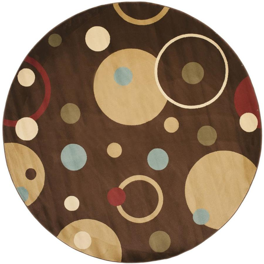 Safavieh Porcello Whimsy Brown/Multi Round Indoor Machine-made Area Rug (Common: 7 x 7; Actual: 7-ft W x 7-ft L x 7-ft dia)