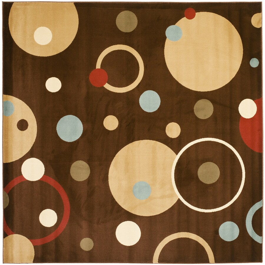 Safavieh Porcello Whimsy Brown/Multi Square Indoor Machine-made Area Rug (Common: 7 x 7; Actual: 7-ft W x 7-ft L)