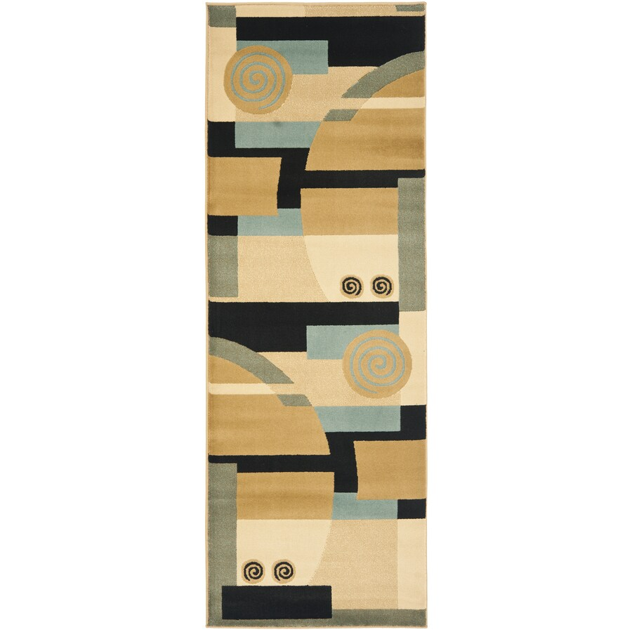 Safavieh Porcello Deco Black/Multi Rectangular Indoor Machine-made Runner (Common: 2 x 9; Actual: 2.33-ft W x 9-ft L)