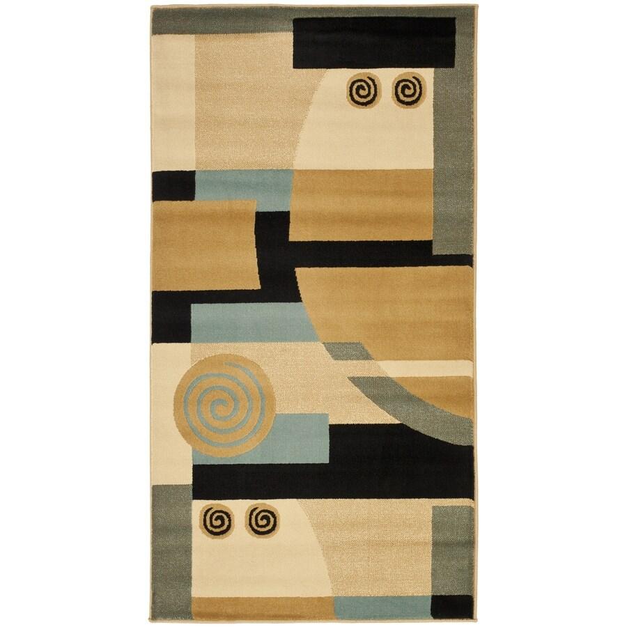 Safavieh Porcello Deco Black/Multi Rectangular Indoor Machine-made Throw Rug (Common: 3 x 5; Actual: 2.583-ft W x 5-ft L)