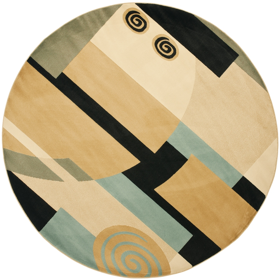 Safavieh Porcello Black/Multi Round Indoor Machine-Made Novelty Area Rug (Common: 7 x 7; Actual: 7-ft W x 7-ft L x 7-ft Dia)