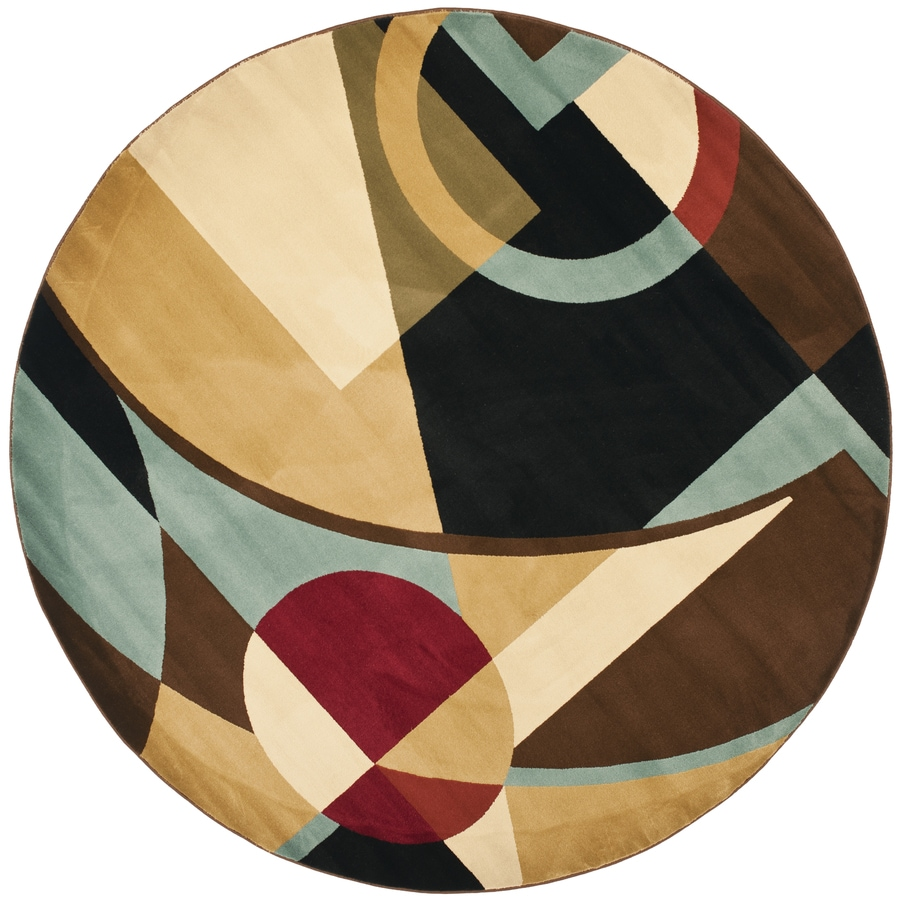 Safavieh Porcello Jackson Black/Multi Round Indoor Machine-made Area Rug (Common: 7 x 7; Actual: 7-ft W x 7-ft L x 7-ft Dia)